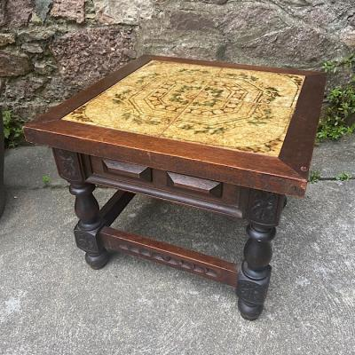 Carved Tile Top Occasional Table
