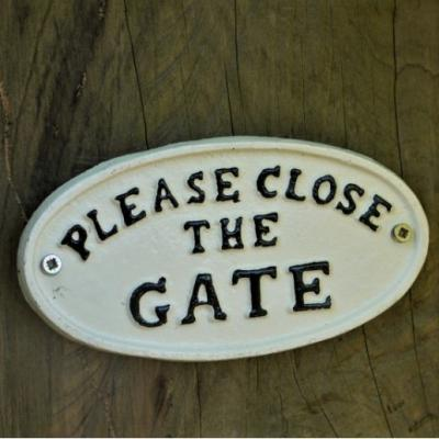 Cast Iron Sign - Close The Gate