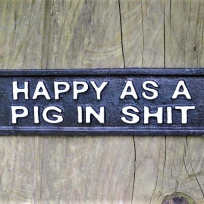Cast Iron Sign - Happy Pig