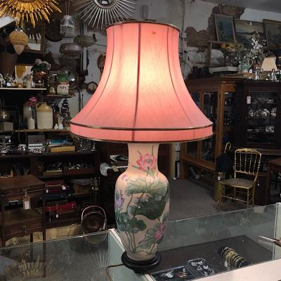 Ceramic Lamp with pink shade