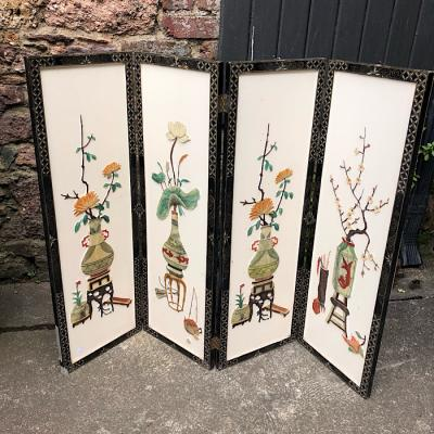 Chinese Chinoiserie Folding Table Top Screen