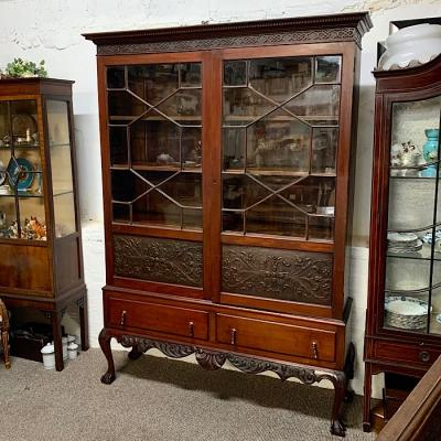 Chippendale Revival Glazed Bookcase