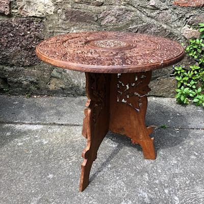 Circular Carved And Inlaid Occasional Table