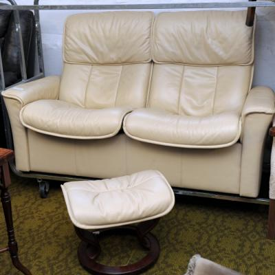 Cream Leather Two Seater Sofa & Footstool