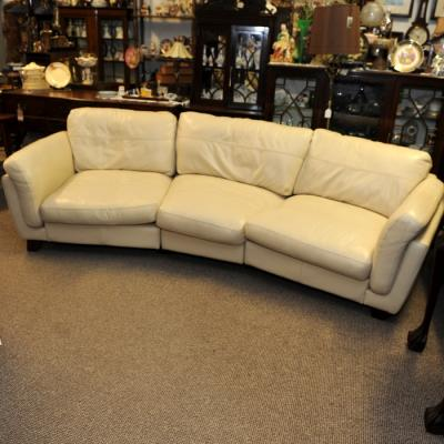 Curved Cream Large Leather Sofa