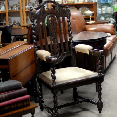 Large Carved Oak Armchair