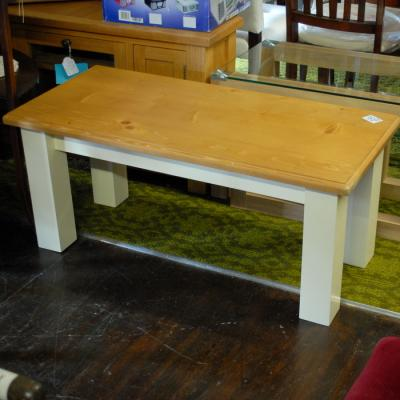 Simple New Pine and  Cream Coffee Table