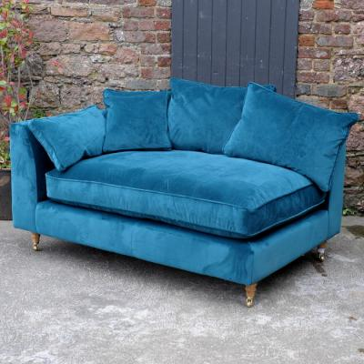Dark Blue Velvet Chaise Sofa