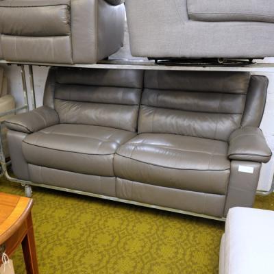Dark Grey Leather Reclining Sofa And Armchair