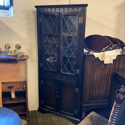 Dark Oak Glazed Corner Cabinet