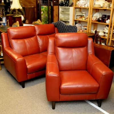Deep Red Leather Two Seater Sofa And Armchair