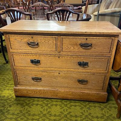 Edwardian Inlaid Oak Chest Of Drawers