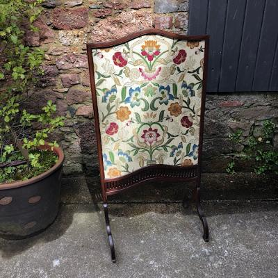 Edwardian Mahogany Embroidered Firescreen
