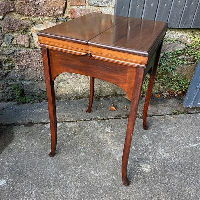 Edwardian Mahogany Surprise Fold-Over Ladys Writing Table