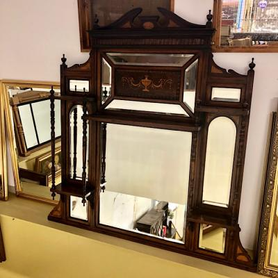 Edwardian Rosewood Overmantle Mirror