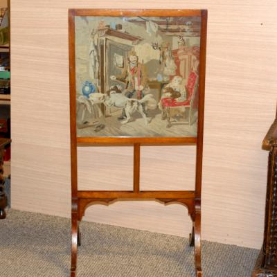 Edwardian Walnut Fire Screen
