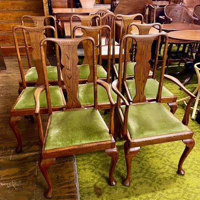 Eight Vintage Oak Dining Chairs