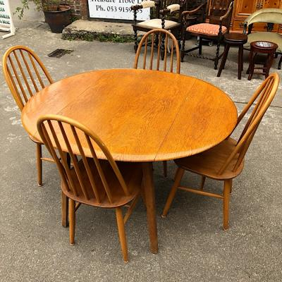 Ercol Style Drop-Leaf Table & Four Chairs