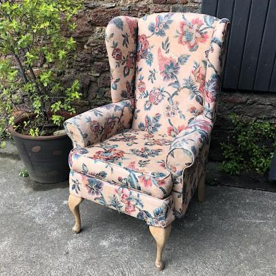 Floral Patterned Wing Back Armchair