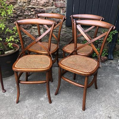 Four Mahogany Bergere Bentwood Chairs