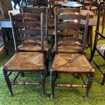 Four Oak Ladderback Chairs