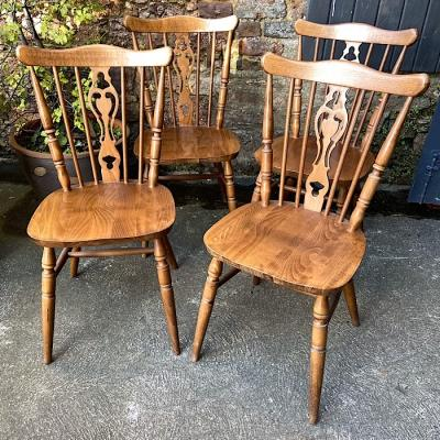 Four Traditional style Beech Dining Chairs