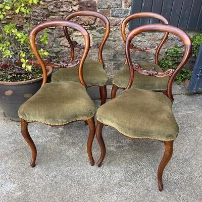Four Victorian Rosewood Balloon Back Dining Chairs
