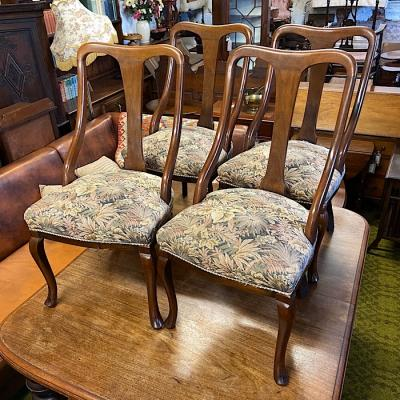 Four Art Nouveau Style Mahogany Dining Chairs
