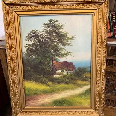Framed Oil On Canvas Cottage Scene