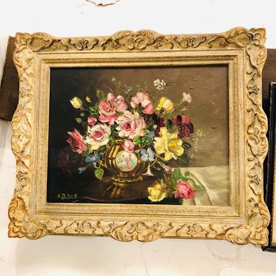 Framed Still Life Oil On Canvas By AD Bell