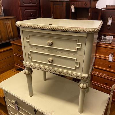 French Louis Xv Style Cream & Parcel Gilt Bedside Chest