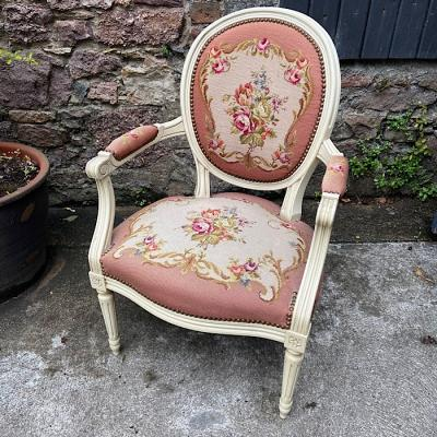 French Style Cream Embroidered Armchair
