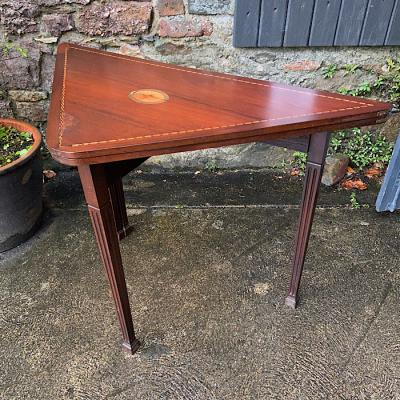 Georgian Inlaid Mahogany Folding Card Table