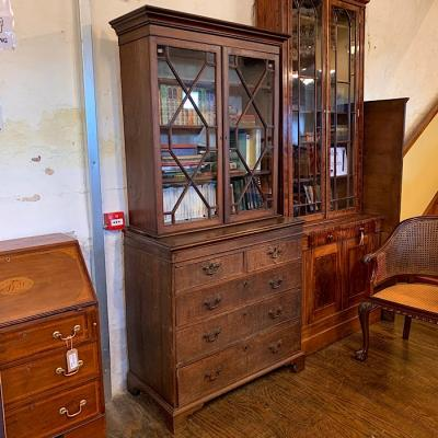 Georgian Oak Bookcase On Chest