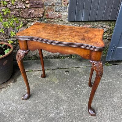 Georgian Style Walnut Serpentine Fold Over Card Table