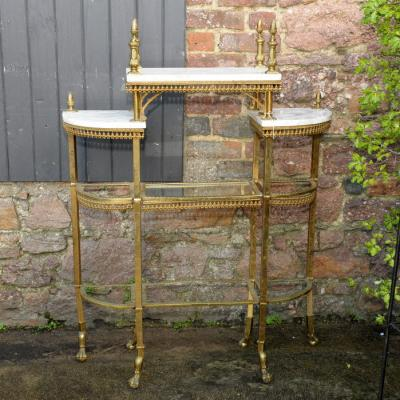 Gilt Metal & Marble Topped Etagere