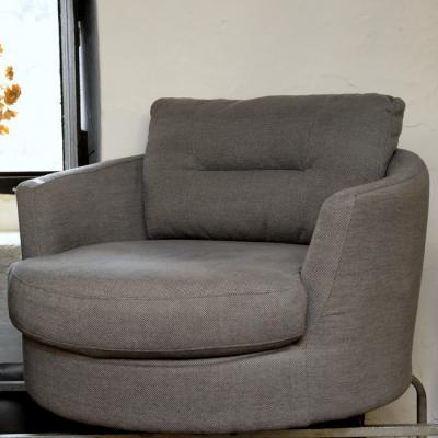Grey Cross Weave Fabric Swivel Armchair