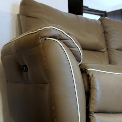 Grey Leather electric reclining 3 seater sofa