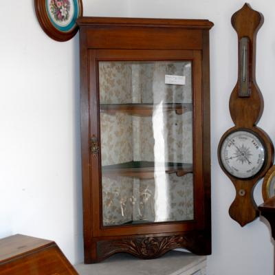Hanging Glazed Mahogany Corner Cupboard