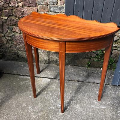 Inlaid Demi-Lune Side Table
