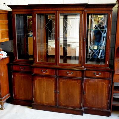 Inlaid Mahogany Breakfront Display Cabinet