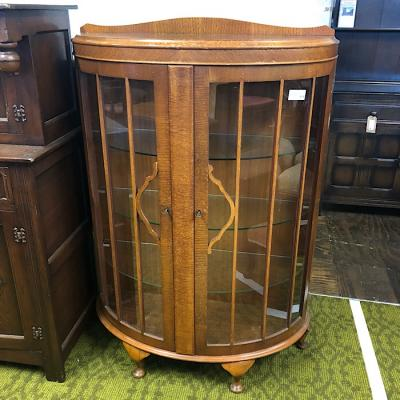 Light Oak Bow-Front China Cabinet
