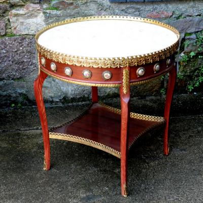 Louis XV Style Walnut Marble Topped Centre Table