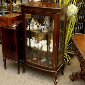 Mahogany Bow Front Display Cabinet