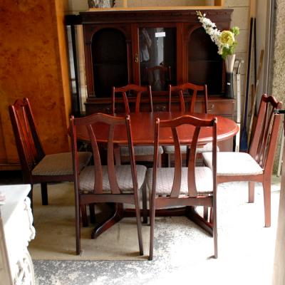 Mahogany coloured set 6 kitchen chairs