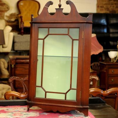 Mahogany Glazed Corner Wall Cabinet