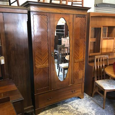 Mahogany Mirror-door Wardrobe