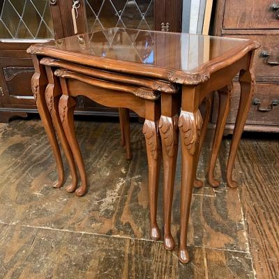 Mahogany Nest Of Glass Top Tables