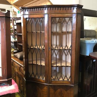 Mahogany Serpentine Corner Cabinet