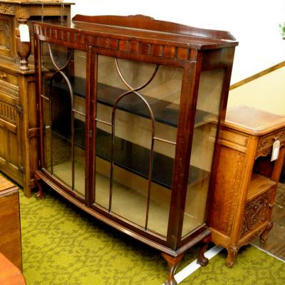 Mahogany Two Door Glazed Display Cabinet